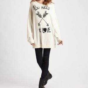 Wildfox All You Need Is Love Tunic Sweatshirt